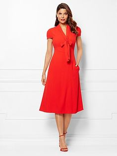 Shop Eva Mendes Collection - Gemma Tie-Neck Dress . Find your perfect size online at the best price at New York & Company.