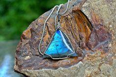 Triangle shape Labradorite pendant silver wire by SAGaStone