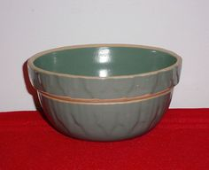 Stoneware Bowl Blue Green Yellow Ware Pottery Crock Picket Fence Made in USA  #MadeinUSA
