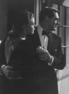 "Cary Grant and Ingrid Bergman in ""Notorious"" outside the wine cellar door, one my favorite scenes."