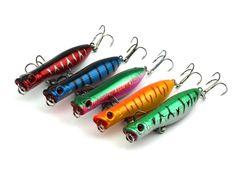 HENGJIA 50pcs 60mm New Diving Fishing Hard Lure Baits Popper Fishing Crankbait Lure Bait Hook 6CM 5G 8# hooks top water