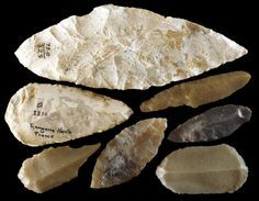 Seven Solutrean stone tools from southwestern France.