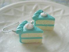 Teal Dream Cake Slice Earrings Miniature Food by fakerybakery2, $14.00