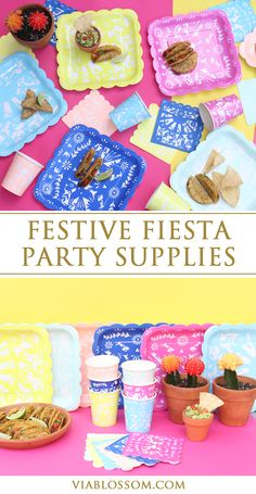 """Gorgeous and festive Fiesta Plates featuring the intricate mexican design you will find in traditional """"Papel Picado"""" decorations.  These plates are perfect for any Fiesta Party or a Cinco de Mayo Party!"""