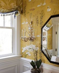 It's A Wonderful Palmetto Life #yellow #wallpaper #bathroom