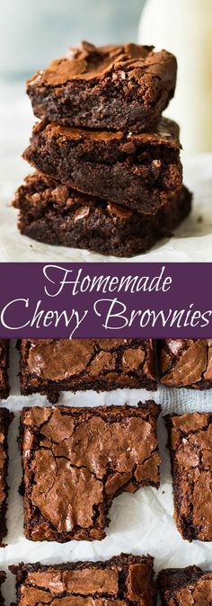 Homemade Chewy Brownies are thick, chewy, fudgy and made completely from s. - Desserts -These Homemade Chewy Brownies are thick, chewy, fudgy and made completely from s. Easy Desserts, Dessert Recipes, Baking Desserts, Recipes Dinner, Easy Snacks, Patisserie Fine, Chocolate Chip Cookie Dough, Dessert Bars, Chocolate Recipes