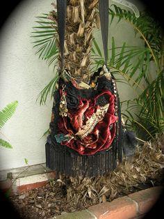 bohemian gypsy handbags  | Fringed Gypsy Bag, handmade bohemian purse slouchy velvet tapestry ...