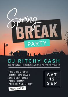 Spring Break Beach Party Poster using Text Masking - 7 Beautiful Text Masks - How to WOW with Images in Text #typography #diydesign #graphicdesign #pinterestmarketing #DJ #musicposter #eventmarketing #springbreak""