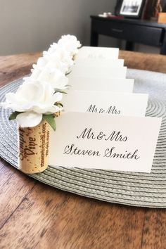 Simple & elegant, display your wedding guest name cards in pretty style with white rose place card holders by Kara's Vineyard Wedding Wine Cork Wedding, Diy Wedding Favors, Wedding Crafts, Diy Wedding Decorations, Wedding Souvenir, Wedding Table, Wedding Ideas, Table Decorations, Name Card Holder