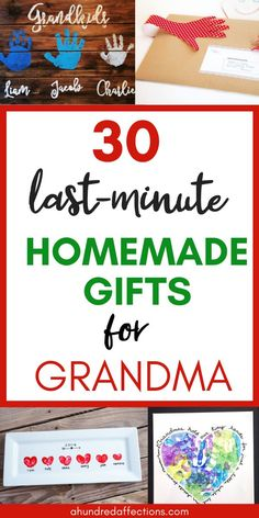Are you scrambling to come up with a meaningful and adorable gift for Grandma from the kids? Here's help! You can choose from 30 homemade gifts the kids can easily and quickly make - guaranteed to put Homemade Gift For Grandma, Homemade Birthday Gifts, Great Grandma Gifts, Grandma Crafts, Homemade Mothers Day Gifts, Birthday Gifts For Grandma, Mothers Day Gifts From Daughter, Grandmother Gifts, Mothers Day Crafts For Kids