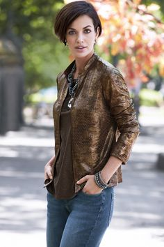 Chico's Artisan Embellished Faux-Leather Jacket. #chicossweeps