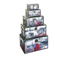 Storage Box - London City Scene (Set of 5)  A decorative storage box set with illustrations of London and its most iconic sights and locations.  Smallest Height : 15.5cm, Width : 28cm, Depth : 18cm Small Height : 19.5cm, Width : 36cm, Depth : 22cm Medium Height : 25.5cm, Width : 50cm, Depth : 28cm Large Height : 33.5cm, Width : 62cm, Depth : 37cm Largest Height : 41.5cm, Width : 69cm, Depth : 45cm
