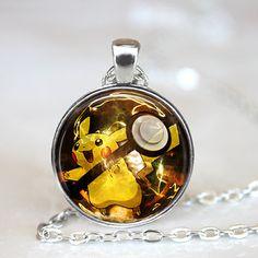 Пикачу Pokeball ожерелье // 27 мм круглый Pokemon подвеска Collana старинные колье роковой