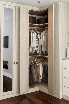 Small alcove wardrobe storage solution