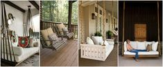 amazing 7 DIY Outdoor Swings That'll Make Warm Nights Even Better. Is Just Stunning 1 - Cosy Wood Swing source Like the mix of old and new, tin roof, wouldn't do the swing tho, just giant cushy bench. 2 - Porch Swings with Ro. Patio Furniture Makeover, Diy Garden Furniture, Outdoor Furniture, Outdoor Daybed, Outdoor Swings, Porch Swings, Outdoor Decor, Outdoor Pallet, Outdoor Seating