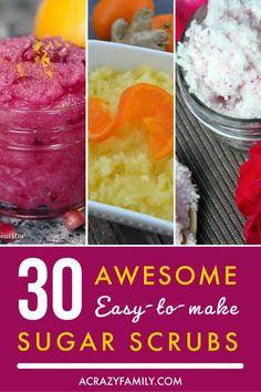 30 Awesome Easy To Make Sugar Scrubs Diy Crafts Love, Sugar Scrub Homemade, Bath Bomb Recipes, Hair And Makeup Tips, Delicious Breakfast Recipes, Sugar Scrubs, Asian Cooking, Feet Care, Diy Beauty