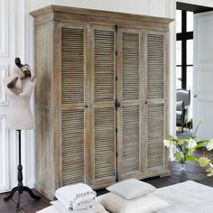 Old bookshelf, add crown molding and shutter doors. Shutters make everything better :) Furniture Projects, Furniture Makeover, Home Projects, Armoire Makeover, Furniture Storage, Old Bookshelves, Large Bookcase, Tv Armoire, Old Shutters