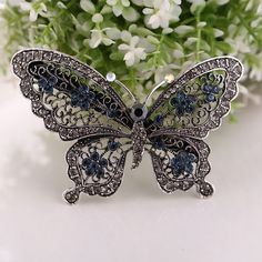 New Crystal Rhinestone Butterfly Wedding Bridal Hair Comb Hairpin Clip Barrette #Unbranded