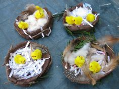 Would be so sweet to put one at each guest's place setting. Easter Birds Nests