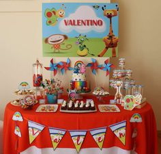 Colorful dessert table at a Baby TV birthday party! See more party ideas at CatchMyParty.com!