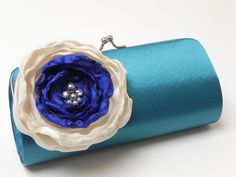 Wedding Bridesmaid Clutch Teal Royal Blue Ivory -  Bridal Clutch - Rhinestones and Pearls  - Something Blue Bridal Clutch. $46.00, via Etsy.