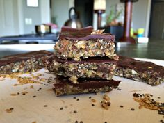 Dark Chocolate Covered Seed and Nut Bars | Nourished Roots