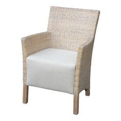 Bring stylish appeal to your living room or study with this handcrafted rattan arm chair, showcasing a whitewashed finish and woven design. ...