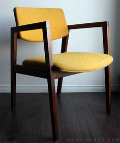 YELLOW FLOATING BACK WALNUT MID CENTURY MODERN ARMCHAIR - AVAILABLE