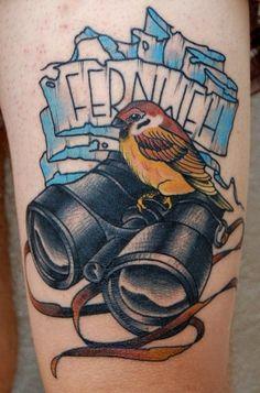 bird & binoculars tattoo