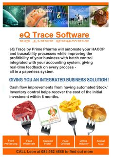 Print advertisement and event for new eQ Trace software - Prime Pharma