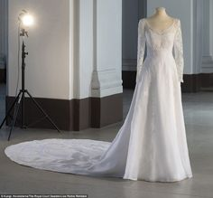 Princess Sofia, Crown Princess Victoria and Queen Silvia gathered in Stockholm today at a new exhibition of royal wedding dresses. The Swedish royals have all donated their own bridal gowns. Royal Wedding Gowns, Couture Wedding Gowns, Royal Weddings, Bridal Gowns, Wedding Dresses, Lace Wedding, Stunning Dresses, Beautiful Gowns, Prinz Carl Philip