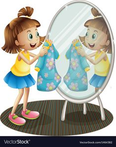 A girl looking at the mirror with her dress Vector Image , Cartoon Pics, Cartoon Art, Carson Dellosa, Girls Blouse, Pre School, Preschool Activities, Chibi, Clip Art, Adobe Illustrator
