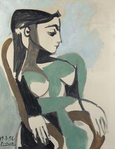 Pablo Picasso (1881-1973), Femme dans un fauteuil, 1956. Oil on canvas, 39 ½ x 31 ½ in.