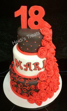 Black and red 18th birthday cake rose cake