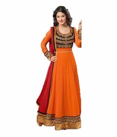 orange embroidary semi stitched desinger salwar suit.
