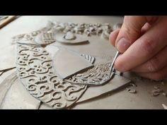 Victoria Ellis Carves Fine Bas Relief Figurative Clay Mural - YouTube