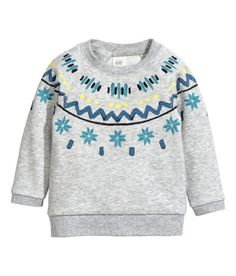 Long-sleeved top in soft marled sweatshirt fabric with a print motif press-studs at the neck and ribbing around the neckline cuffs and hem. Baby Boy Outfits, Kids Outfits, Boys Clothes Sale, Grey Pattern, H&m Online, Printed Sweatshirts, Christmas Sweaters, Fashion Online, Long Sleeve Tops