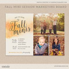 Fall Mini Session Template Photography Marketing board