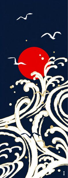 Japanese Tenugui Cotton Fabric Powerful Big Wave Bird & Red
