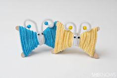 Yarn butterfly craft    What you'll need:        popsicle sticks      yarn      glue      scissors      pipe cleaners      beads      googly eyes