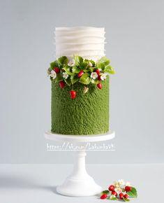 Gorgeous Cakes, Pretty Cakes, Cute Cakes, Amazing Cakes, Strawberry Cream Cakes, Strawberry Plants, Fondant Cakes, Cupcake Cakes, Rodjendanske Torte