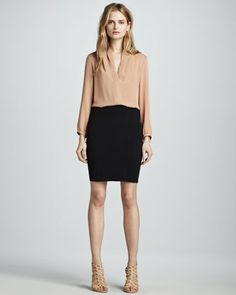 Helona Loose Silk Blouse & Brookelles Jersey Pencil Skirt by Theory at Neiman Marcus.