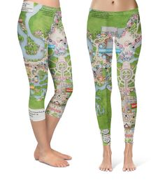 Magic Kingdom Map - Capri   Full Length Leggings in XS-3XL - Sports or 3d08aed600b