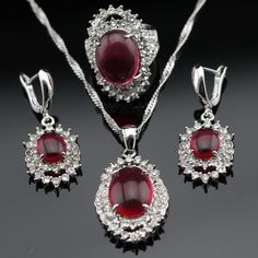 Made in China Red White Crystal Silver Color Bridal Jewelry Sets For Women Earrings/Necklace/Pendant/Rings Free Gift Box