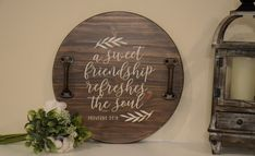 Beautiful tabletop wood sign featuring handles and Proverbs 27:9 scripture is the perfect addition to any home decor or given as a gift for a sweet friend.  It is made in out Southeastern Georgia military home.  Handmade w/ wood, paint