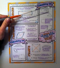 "Free download - ""doodle notes"" for activating both hemispheres of the brain in math class: quadrilaterals - www.mathgiraffe.com"