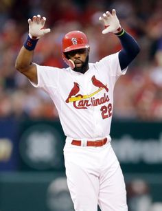 Jason Heyward gestures toward the dugout after hitting an RBI double during the fifth inning of a game against the San Diego Padres. Cards lost 5-3. 7-02-15