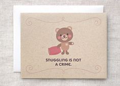 Valentine Card, Anniversary Card, Funny - Cute Kawaii, Brown Teddy Bear, Recycled Card - Snuggling on Etsy, $5.15 CAD