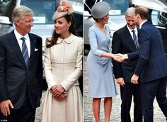 King Philippe and Queen Mathilde of Belgium greeting the Duke and Duchess of Cambridge upon their arrival at the Cointe Inter-Allied Memorial in Liege to mark the 100th anniversary of the outbreak World War I.