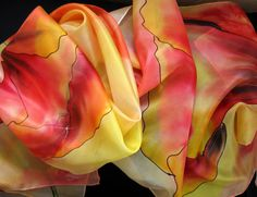 Orange apricot flower scarf. Hand painted red by TiiuHandCraft